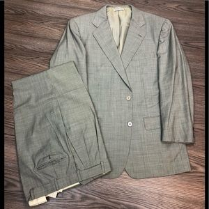 Other - Custom Made Taupe Check Super 100's Suit 40R